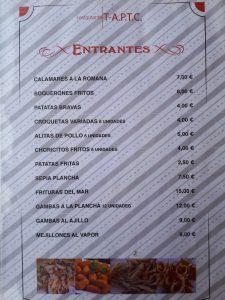 Entrantes Restaurante T-A.P.T.C. - Marina Dor