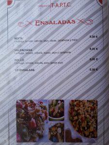 Ensaladas Restaurante T-A.P.T.C. Marina Dor